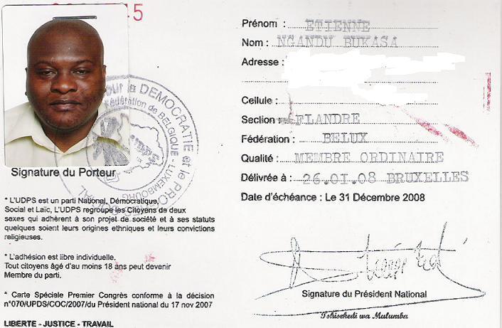 L'UDPS A Ccommencé La Vente Des Cartes De Soutien Pour Son
